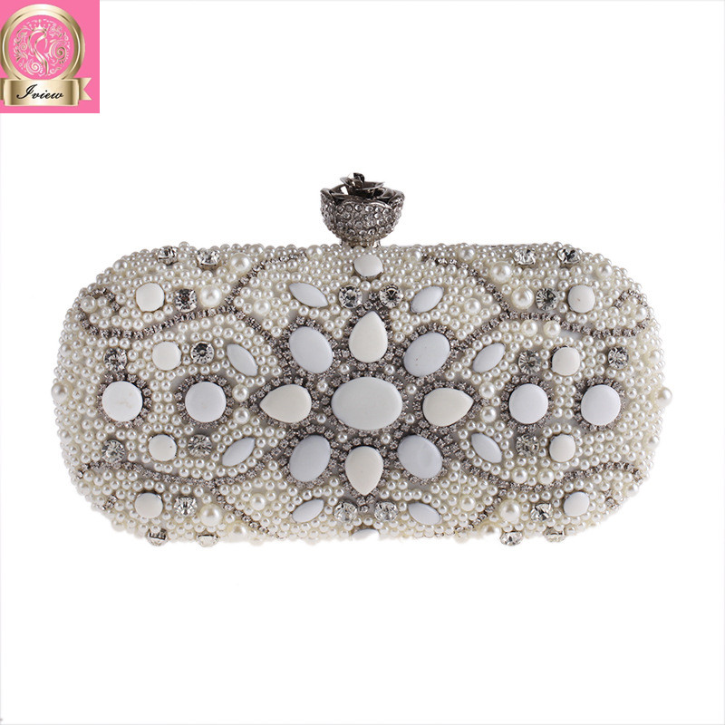 2018 Luxury Women Pearl Clutch Dinner Party Purse Top Quality Ladies Evening Bags Female Wedding Bag Bridal Chains Shoulder Bag top quality luxury crystal evening clutch women wedding purses lady dinner party shoulder bags pink