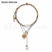 Hot Sale Retro Love Necklace Chain Bee Pearl Multi layer Clavicle Chain Necklace Personality Trend Joker Necklace For Gift