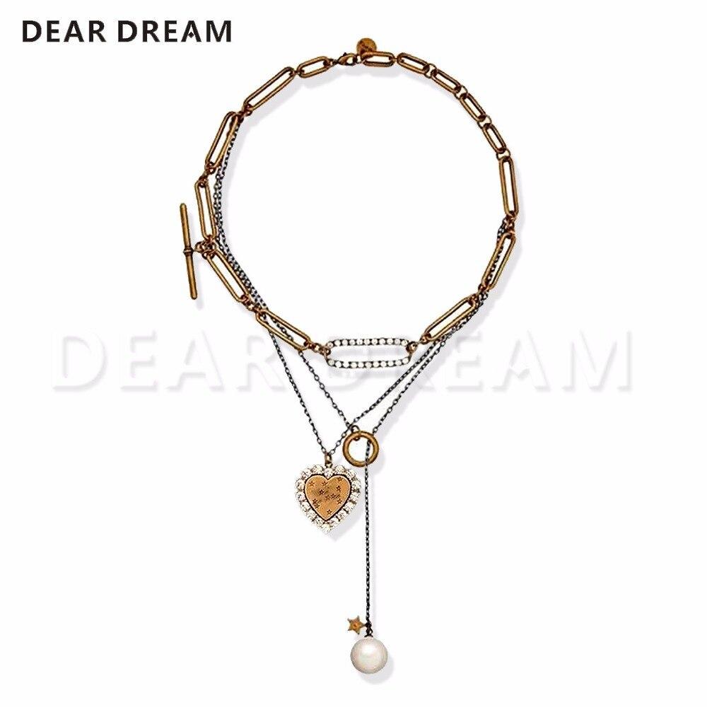 Offre spéciale collier rétro amour chaîne abeille perle multi-couche clavicule chaîne collier personnalité tendance Joker collier pour cadeau