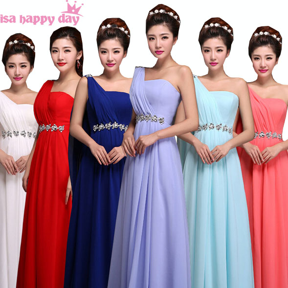 Royal Blue Burgundy One Shoulder Ladies Bridesmaid Dress Plus Size