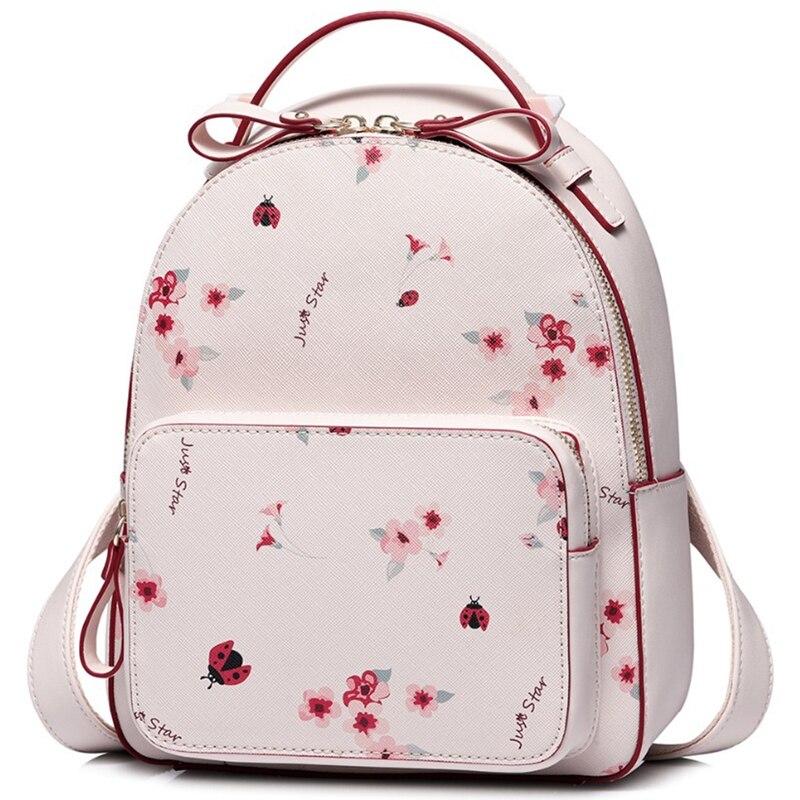 JHD-JUST étoile sac à dos en simili cuir polyuréthane femmes mode Floral imprimé sac à bandoulière dame romantique rose printemps voyage sac à dos