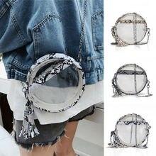 Women PVC Clear Chain Cross Body Bag Tote Transparent Shoulder Handbag Purse UK