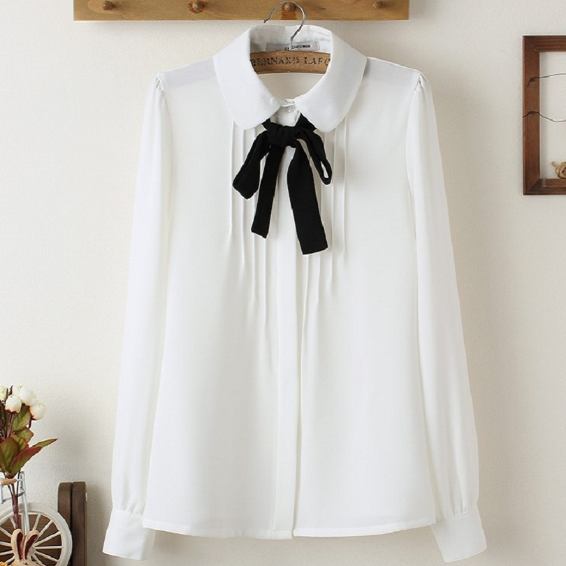 S 5xl White Blouses Chiffon Girl Teenager Office White
