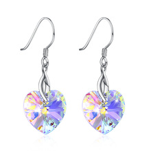 Sweet Wind Heart Love Shaped Sterling Silver 925 Earphone for Women Austria crystal Crystal Drop Earrings Multi Color European