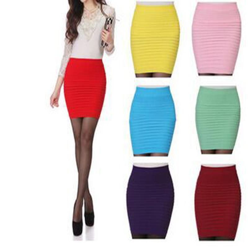 2017 divat női szoknyák cukorka szín női rugalmas rugalmas derék nyári ceruza szoknya 14 szín D001