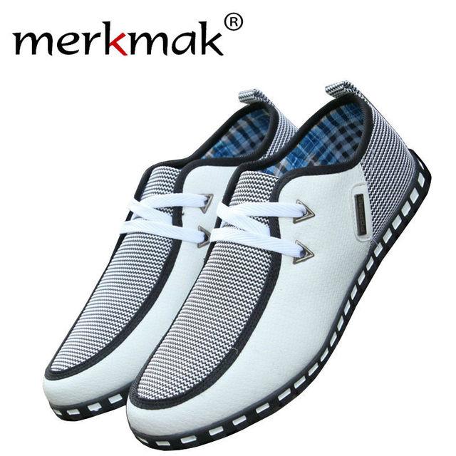 Merkmak 2016 Pisos hombres del Estilo Británico de Rayas de Moda Transpirable Con Cordones Zapatos Planos Ocasionales Hombres Zapato Casual Zapato Envío de la gota