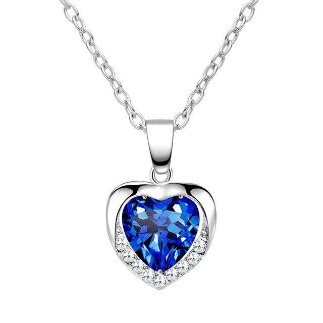 Elegant Classic Zircon Glass Ocean Heart Shape Dark Blue Crystal Necklaces & Pendants Statement Chain Necklace Woman Jewelry