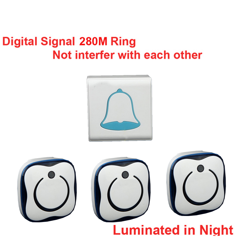 5 walls penetrate 3 receivers wireless doorbell,Waterproof 280M works wireless door chime,wireless bell,door bell 36 melodies ks v2 welcom chime bell sensor