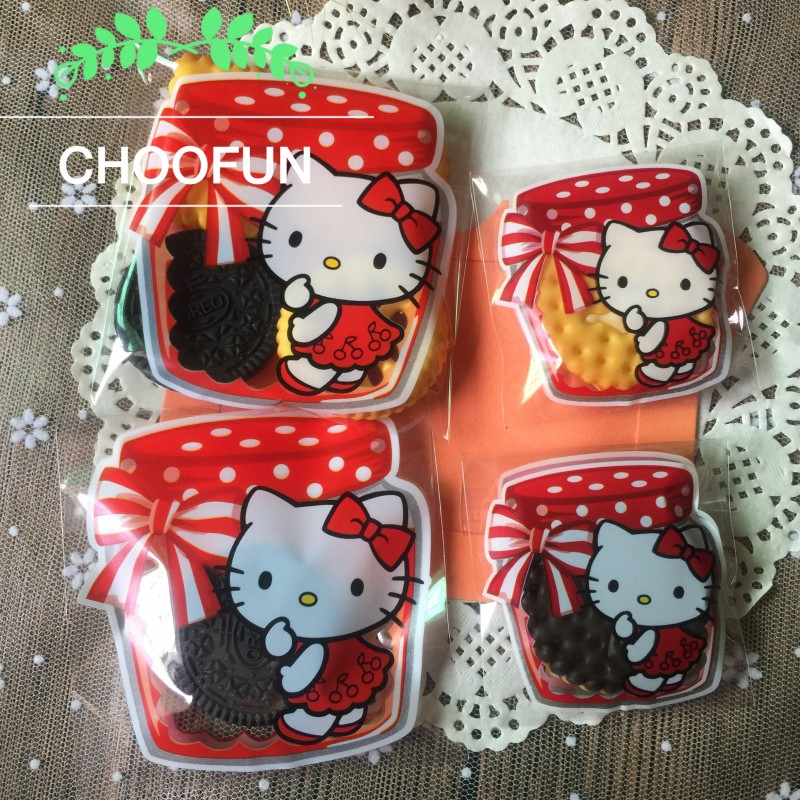 100pcs 2 Size Lovely Cat Red Jam Bottle Style OPP Gift Self-adhesive Soap Baking Packaging Bag Event Cookie And Candy Bag BZ123