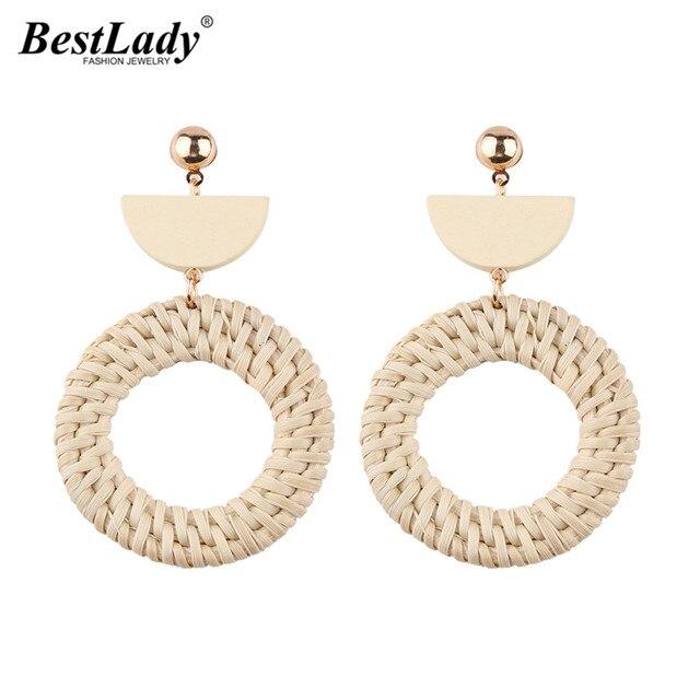 Best Lady Handmade Round Earrings For Women Wooden Straw Weave