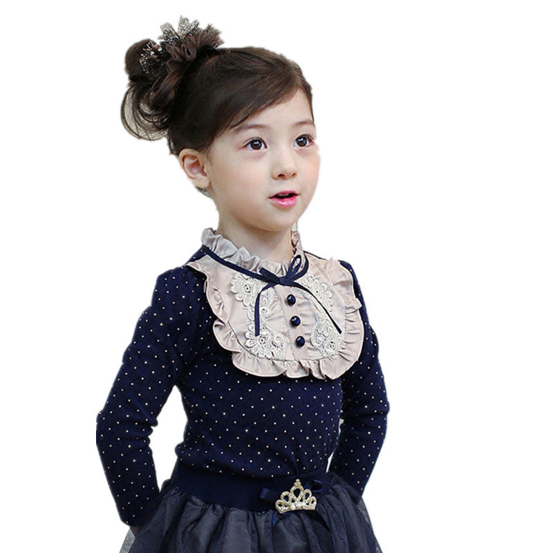 Children's Polka dot Winter thicken T-Shirt 2017 Spring Cotton Kids Shirt Baby Girls Clothing Soft Long Sleeve Tops Tees 2-10Y mushroom polka dot printed long sleeve shirt