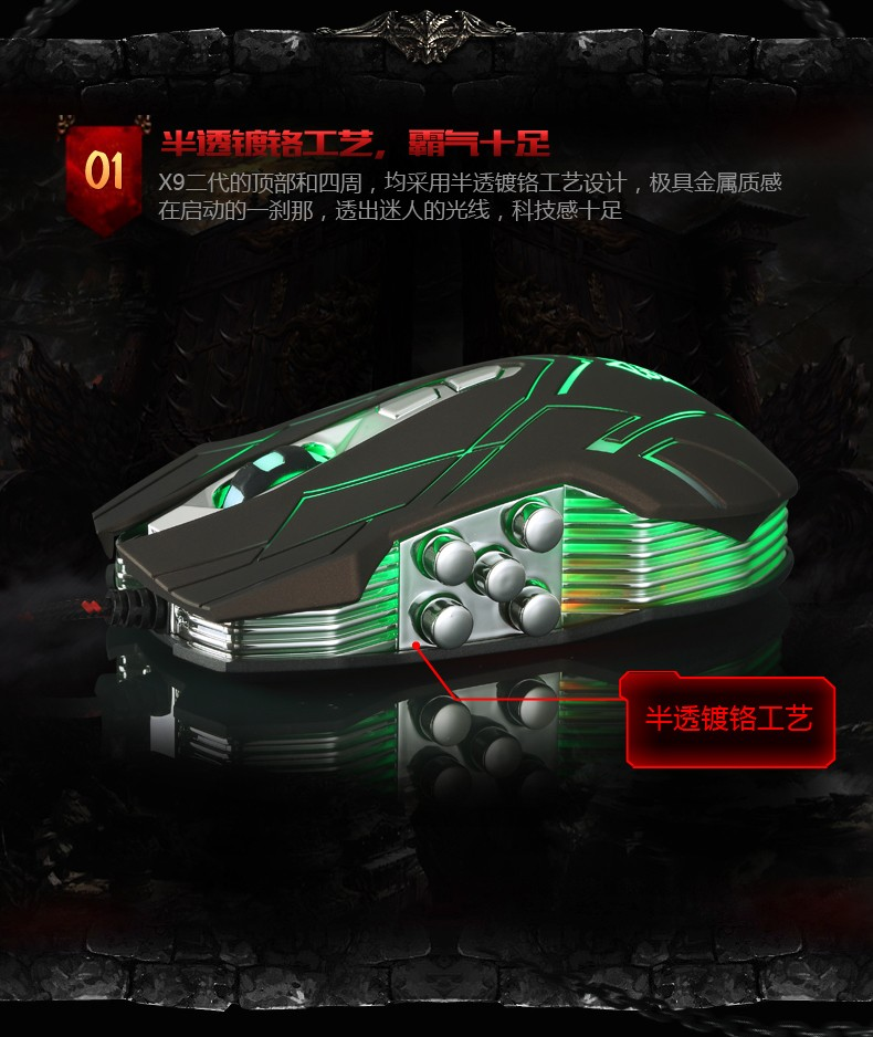 Hongsund NEW Suzaku II Gaming mouse+800/1200/1600/2400 DPI +USB 3D Professional Competitive Gaming 9 Buttons Mice 29