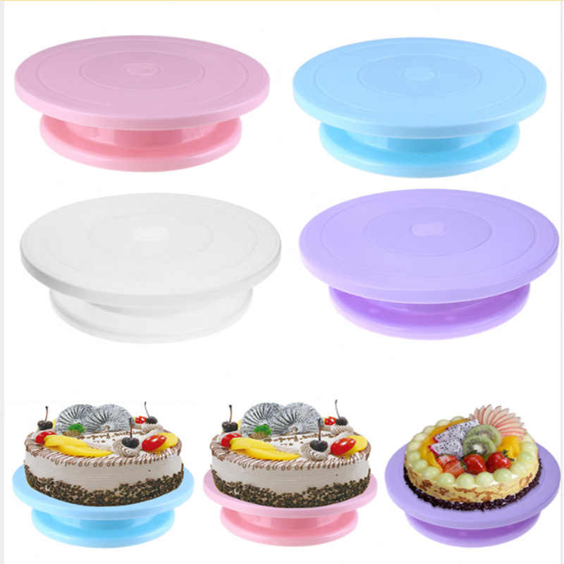 28cm Plastic Cake Turntable Cake Stand Rotating Cake Decorating Turntable Anti-skid Round Cake Stand Rotary Pan Baking Tools