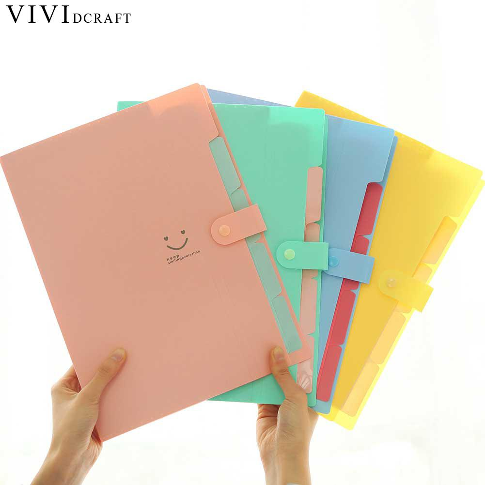 Vividcraft Office Supplies 5 pcs Candy Colors Waterproof A4 File Folder Smiling Face Design Paper Document Bag Rectangle Folder 1pc brand new waterproof book paper file folder bag accordion style design document rectangle office home school 32 23 1 7cm