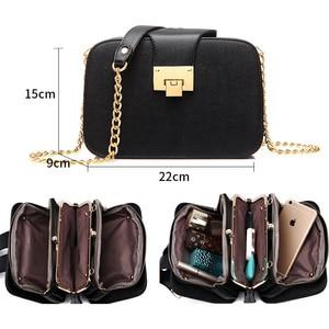Image 4 - Kadın çantası zincir Crossbody omuzdan askili çanta Mini kadın telefon cebi zincir PU suni deri çanta küçük postacı çantası debriyaj 2019