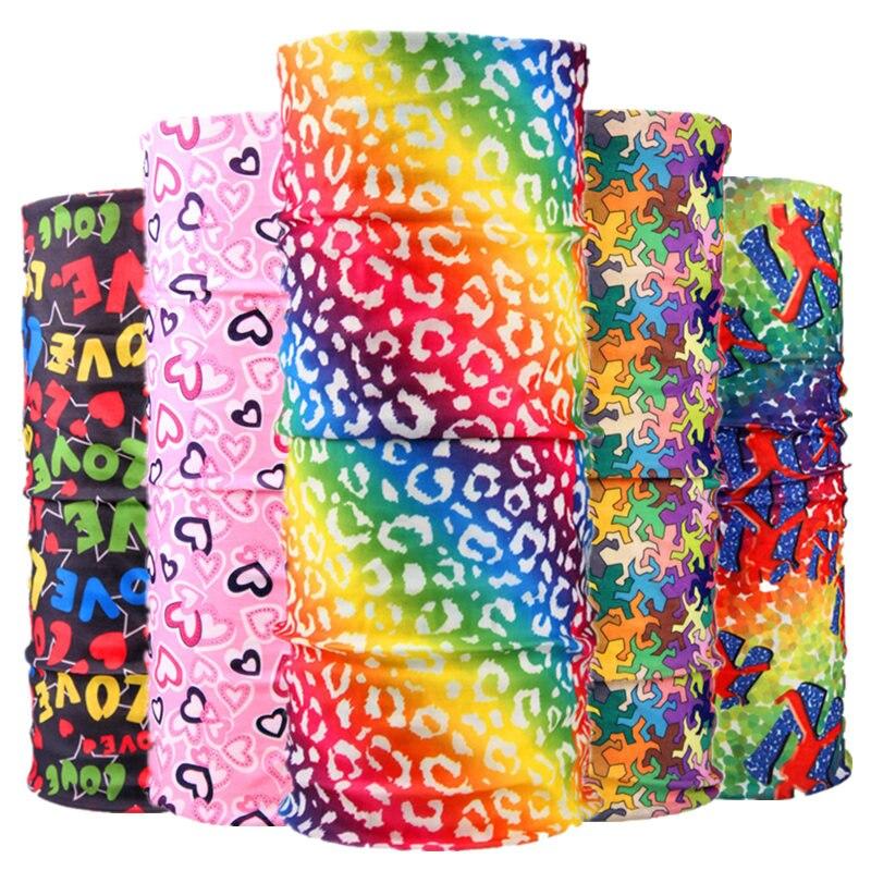Buffe New Design Rainbow Color Multi Use Tubular Seamless Bandanas Women Men Magic Headband Head Scarf Cycling Running Face Mask