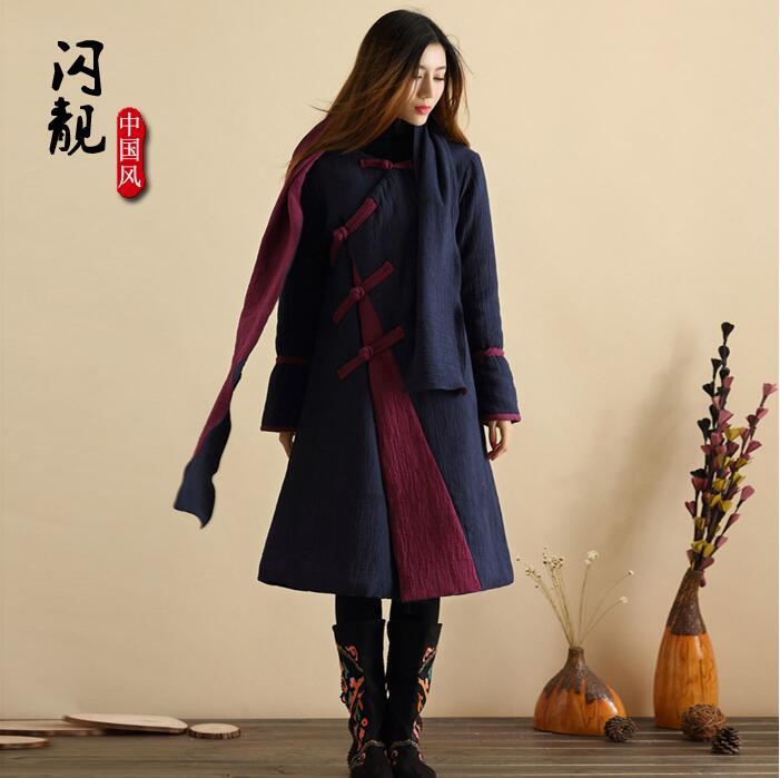 Veste d'hiver femme veste en coton rembourré veste chinoise femme