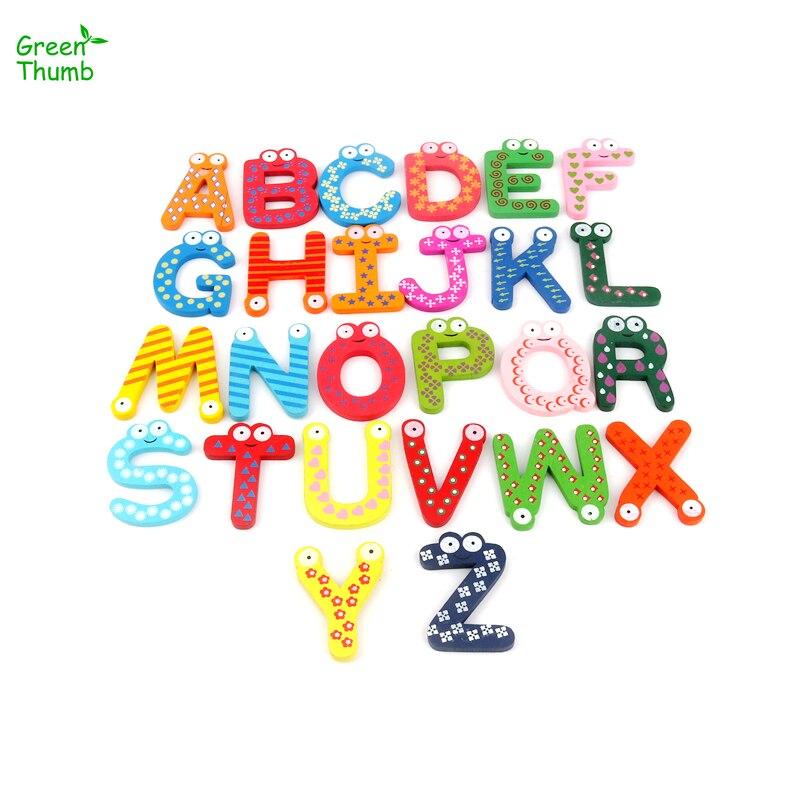 1 Set Engels Alfabet Koelkast Sticker Baby Vroege Onderwijs Leren Speelgoed Creatieve Houten Cartoon Magneet Koelkast Stickers Obstructie Verwijderen