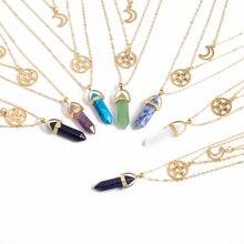 Hot sale Hexagonal Quartz Necklaces Pendants Moon Choker Fashion Natural Stone Bullet Crystal Pendant Necklace Jewelry For Women