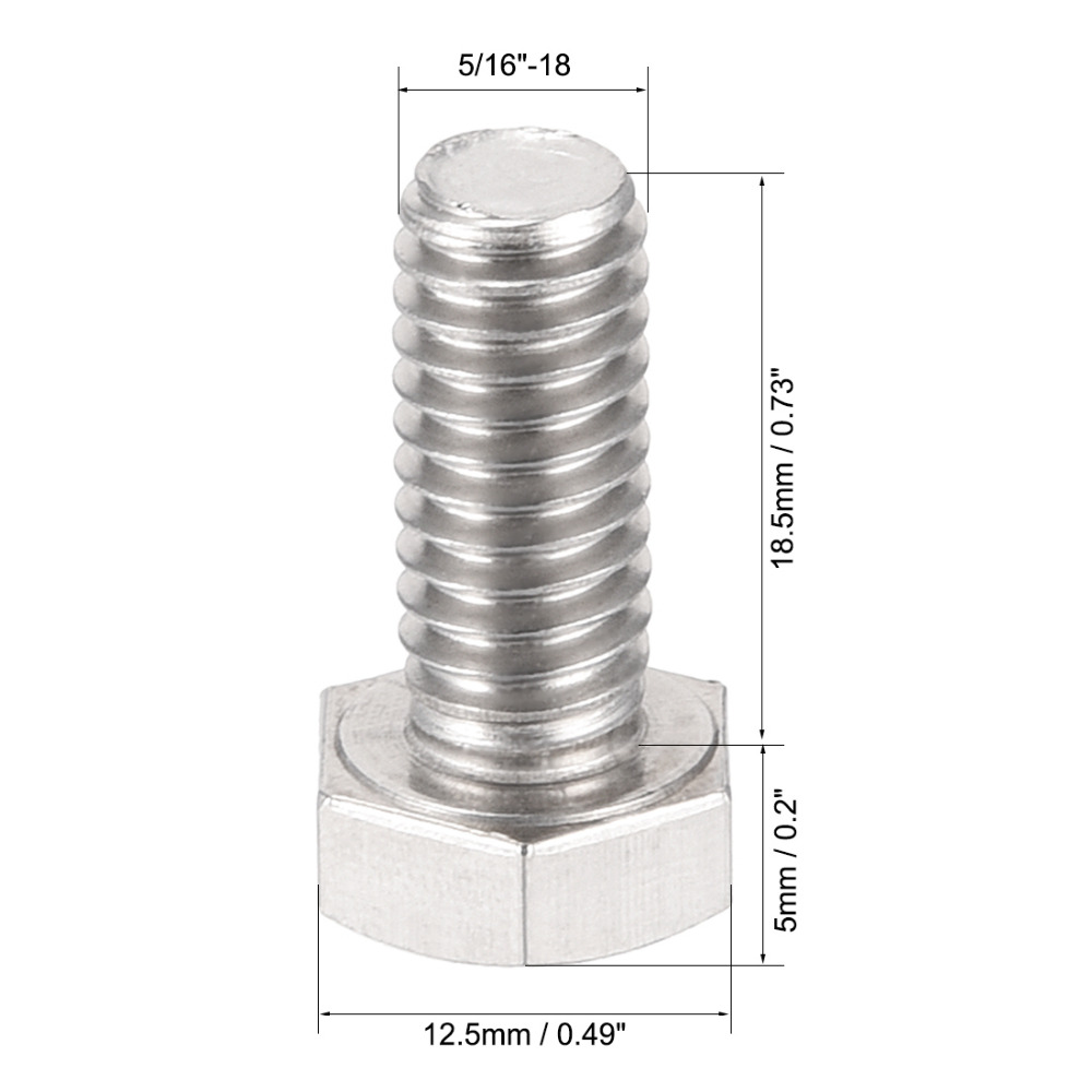uxcell 5//16-18x3//4 304 Stainless Steel Hex Head Screw Bolts Fastener 6pcs