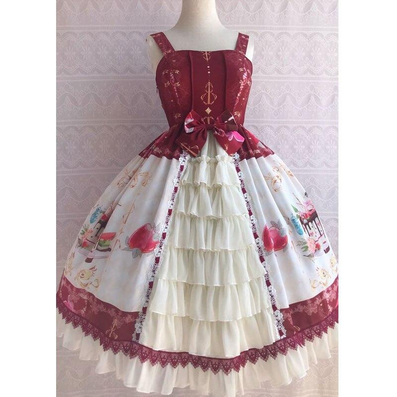 Icy deser ~ słodkie drukowane szyfonowa sukienka na imprezę potargane sukienka Lolita JSK przez Yiliya w Suknie od Odzież damska na  Grupa 1