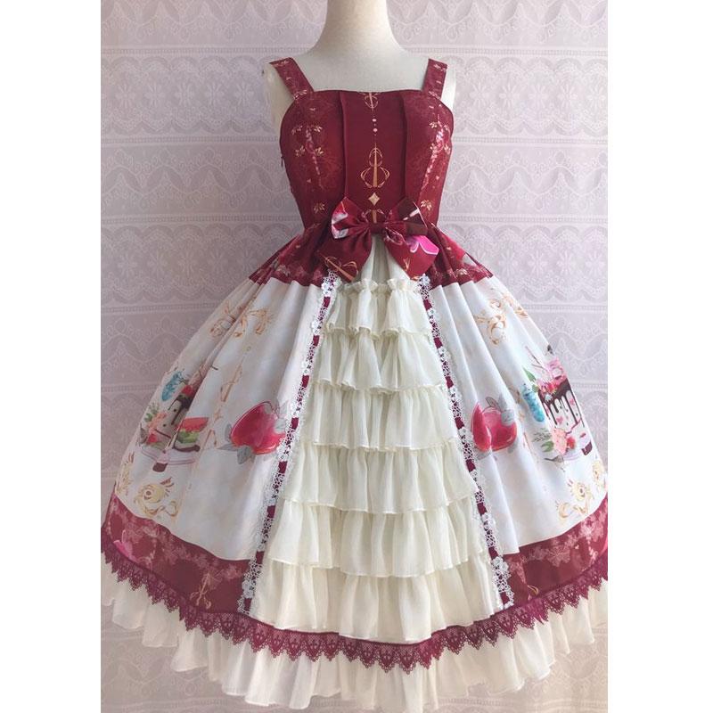 氷デザート〜甘いプリントシフォンパーティードレスフリルロリータ Jsk ドレスによる Yiliya  グループ上の レディース衣服 からの ドレス の中 1