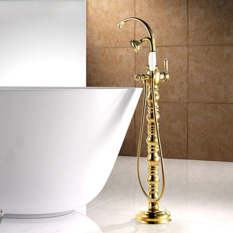 Bathtub Faucet Brass Golden Floor Stand Bathroom Faucet Set Round Rain Shower Handheld Luxury Telephone Type Mixer Tap V1313 luxury bathroom rain shower faucet set antique brass handheld shower head two ceramics lever bathtub mixer tap ars003