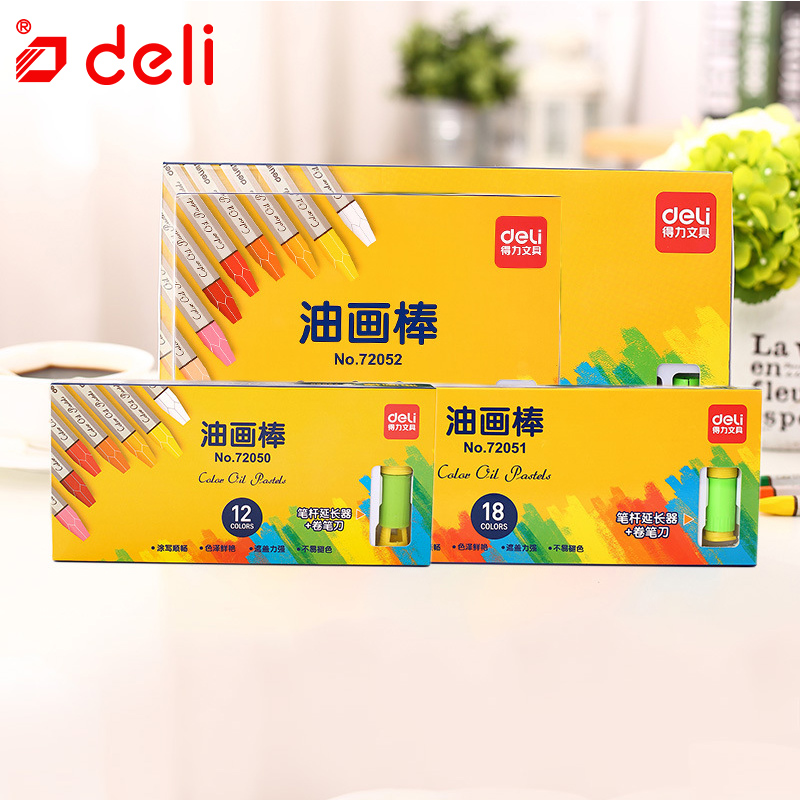 Deli 12/18/24/36 Color Oil Pastel Professional Artist Drawing Painting Pen School Stationery Supply Wax Crayon for Kids 72050-53 ezone 20 colors wax crayon korean creative graffiti kawaii pens for kids painting drawing art supply school reward office supply