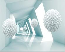 Custom wall 3D square ball abstract building space modern TV background papel de parede 3d papier peint wallpaper roll