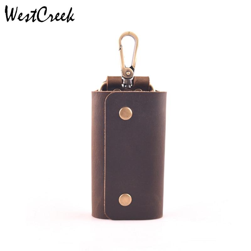 WESTCREEK Brand Minimalist Genuine Leather Handmade Key Wallets Key Holder Case Retro Organizer Pouch With 6 Key Ring