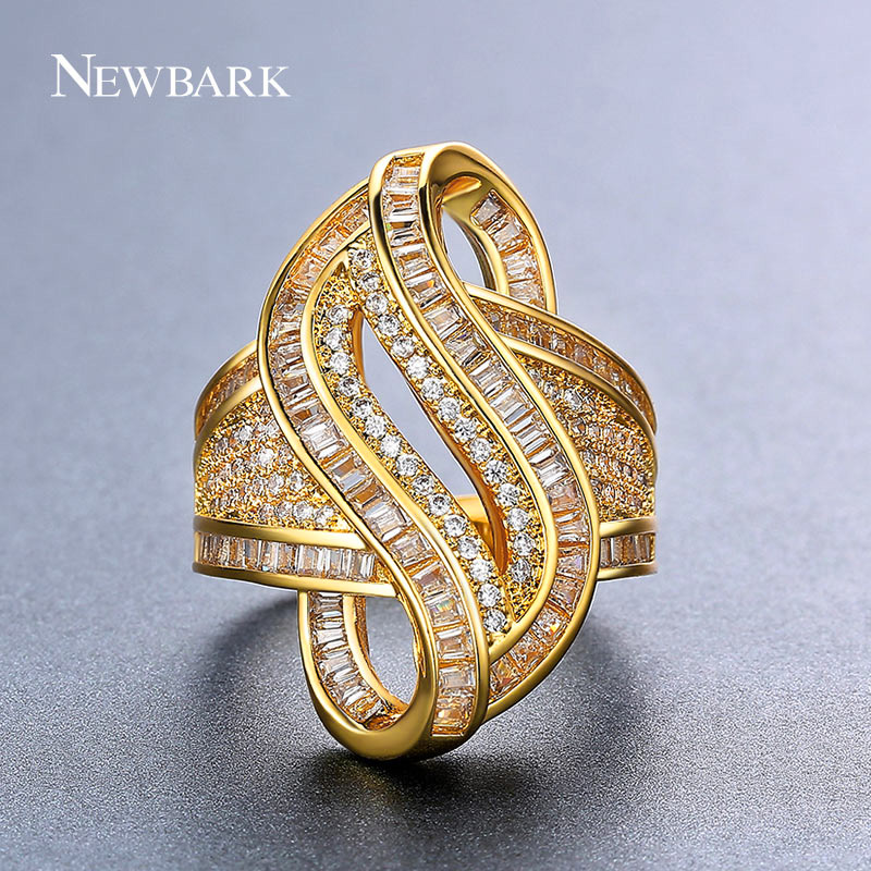 NEWBARK Gold Color Twist Women Cocktail Rings Paved Tiny Cubic Zirconia Stackable Spiral Swirling Wedding Jewelry Birthday Gift
