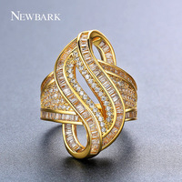 NEWBARK Special Novel Design S Shaped Women Cocktail Rings Unusual Spiral Cubic Zirconia Ring Paved AAA