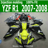 ABS Fairings For YAMAHA YZF R1 07 08 2007 2008 ( Yellow black ) free custom Injection fairing kit TL55