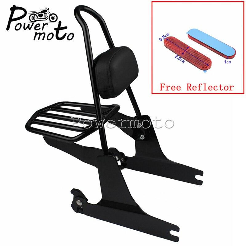 Black Motorcycle Sissy Bar Luggage Rack Backrest Pad Holder W Red Reflector For Harley Dyna Street