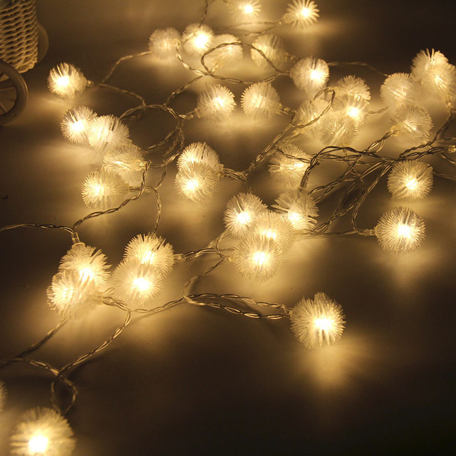 40led 5m battery led snowball pompon lovers day light wedding parties christmas decoration string lights holiday
