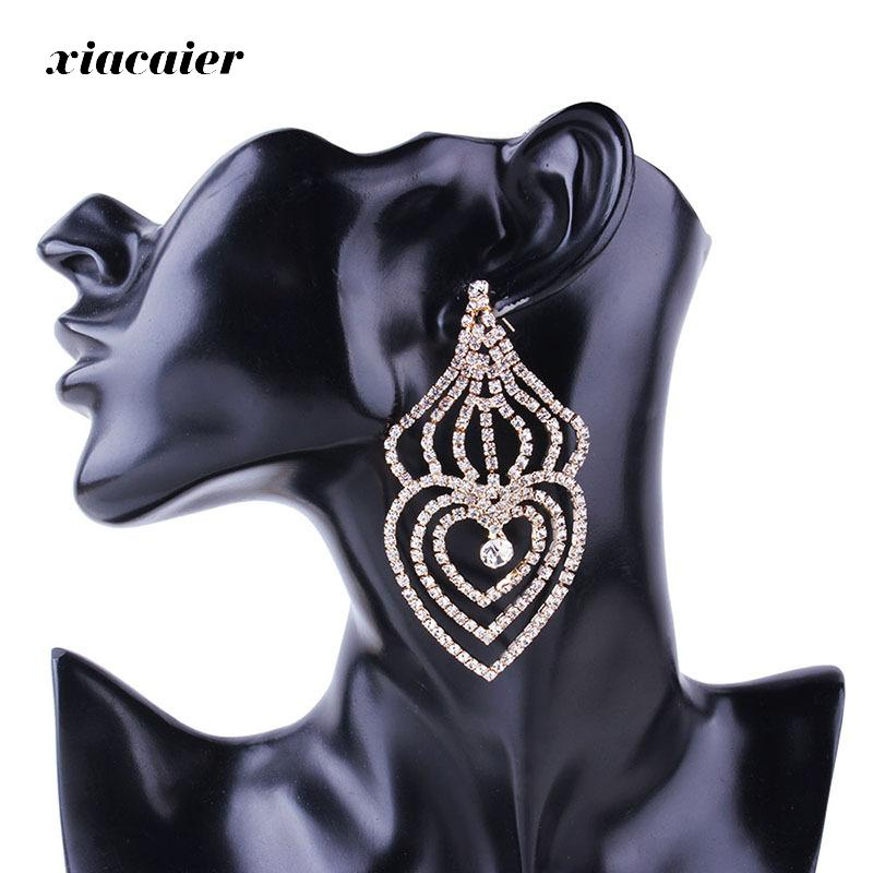 Xiacaier Rhinestone Love Earrings For Women Bridal Gold Color Silver Color Long Statement Earrings Fashion Wedding Jewelry New