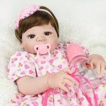 Real Doll Reborn Девушка 22 дюймов Реалистичные BeBe Девушка Возрождается Силикона 55 см Ручной reborn bonecas де силикона inteiro