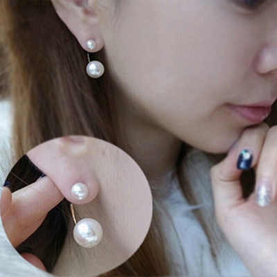 New star earring with sweet small fashion contracted the great pearl pearl double candy spherical earrings adorn article