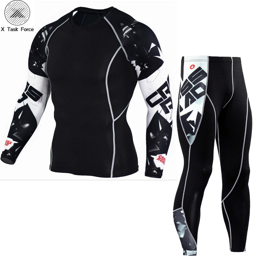Newest Fitness Compression Sets T Shirt Men 3D Printed MMA Crossfit Muscle Shirt Leggings Base Layer Tight Tops X Task Force