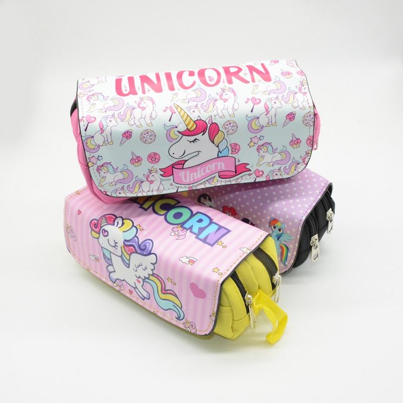 Caixa de Lápis Caneta Bolsa Estuche unicórnio Kawaii Lapiz Unicornio Pennenzak Estuche Lapices Estojo Saco Escola Dos Desenhos Animados Para Meninos