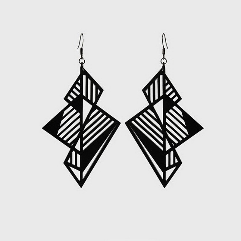 Female New Trendy Stereoscopic Geometric Vintage Earrings For Women Hyperbole Hollow Out Long Black Acrylic Earring E18188 1