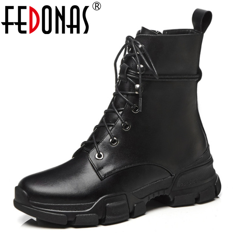 FEDONAS 2019 New Women Mid-calf Boots Punk Martin Shoes Woman Round Toe High Motorcycle Boots Platforms Leather Casual Shoes