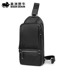 2017 BISON DENIM Brand Men Messenger Bag Cowhide Shoulder Bags Men's Beach Bag Travel Casual Riding Multifunctional Chest Pack