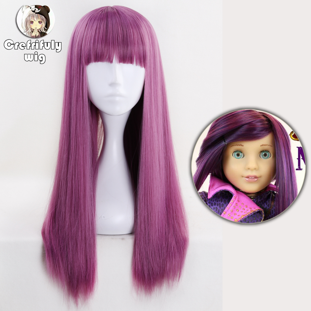 Descendants 2 Mal Mix Purple Pink Cosplay Wig Women Long Straight Synthetic Hair Costume Party Role Play Wigs With Bangs 60cm