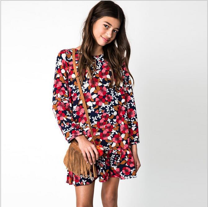 2017 Big Baby Girls Floral Dresses Teenager Princess Dress Junior Autumn Winter Christmas Clothing Babies Clothes цены онлайн