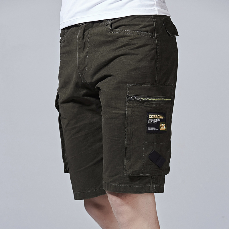 Mens Cargo Shorts Multi Pockets Short for Men 2018 Summer Fashion Pockets Solid Color Loose Knee-length Mens Tactical Short