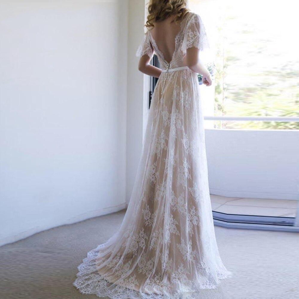 Eightree Boho Bridal Dress Champagne V-neck Lace Wedding Dresses Romantic Vestido De Noiva Backless Wedding Gowns Beach