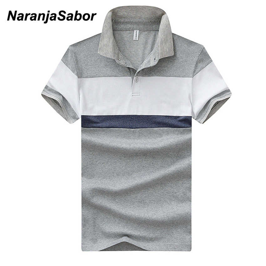 228d45a9a8054 NaranjaSabor Striped Men s Polos New Summer Cotton Short Sleeve Polo Shirts  Casual Male Fashion Turndown Collar
