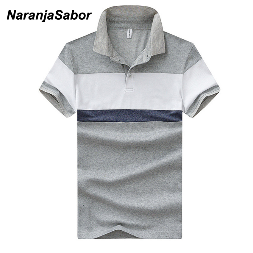 NaranjaSabor Striped Men's   Polos   New Summer Cotton Short Sleeve   Polo   Shirts Casual Male Fashion Turndown Collar Boys   Polos   4XL