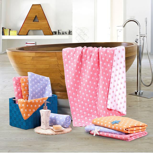 70*140 cm starfish bath towel towel 100% gaze de algodão do bebê da menina do menino retângulo cobertor dupla camada de impressão de alta qualidade cuidados neonatais
